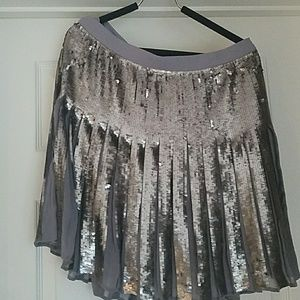 Silver Sequined Pleated Mini Skirt